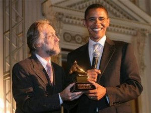 "Barack Obama Grammy win for ""The Audacity Of Hope"" Audio Book, 2008 February"