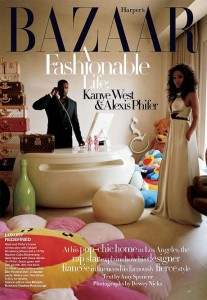Kanye West and fiancée Alexis Phifer, Harpers Bazaar article, with iMac