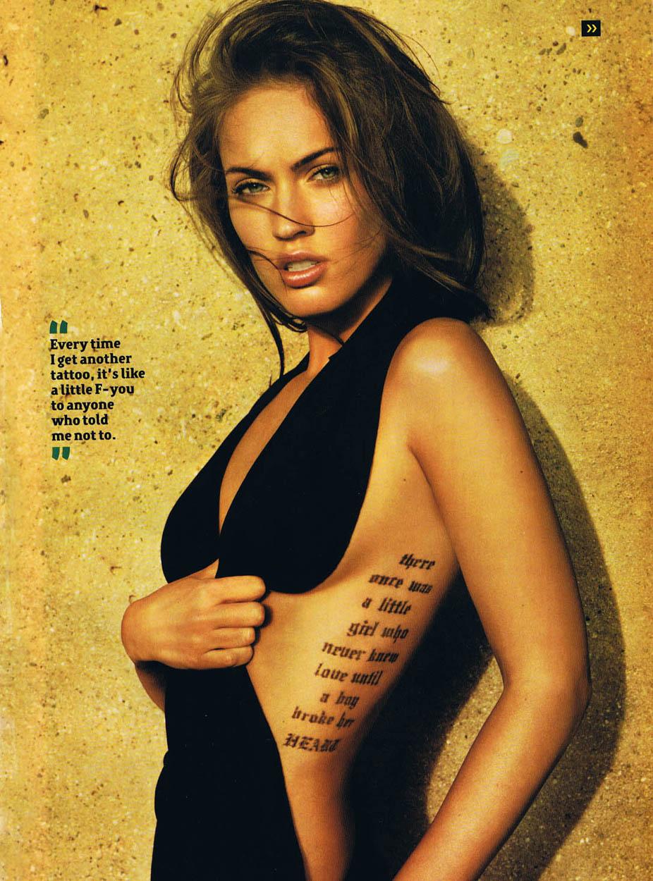 Megan Fox black dress talks to Maxim on tattoos | Obama Pacman