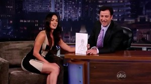 Megan Fox showing drawing of Jimmy Kimmel that she made using her Mac