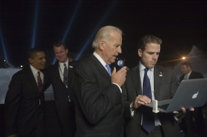 Election Night, Democratic Presidential Nominee, Barack Obama with Joe Biden and Son on election night in Chicago, IL on Wednesday, November 5, 2008. (David Katz/Obama for America)