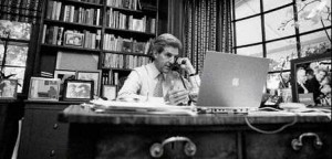 John Kerry US Senator from Massachusetts with his Apple Mac