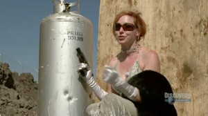 Mythbusters Kari Byron testing James Bond movie explosion myths