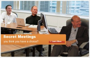 Secret Meetings with Steve Jobs Apple CEO and Steve Ballmer Microsoft CEO. Apple logo added back to the MacBook!