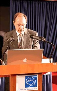 Tim Berners-Lee with Apple Mac laptop at CERN, where the World Wide Web was born / invented