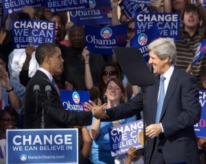 Barack Obama With John Kerry, shaking hands