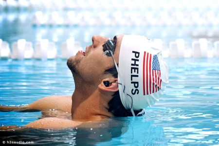 Michael Phelps swimming with Apple iPod and waterproof headphones