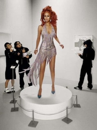 Supermodel Tyra Banks as art on display