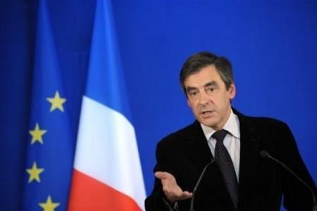François Fillon Prime Minister of France -speaking in front of French EU flag