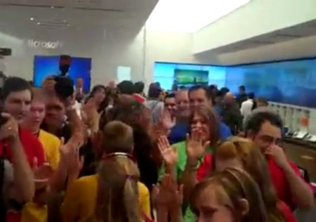 Microsoft Store Employees with multi-colored shirts
