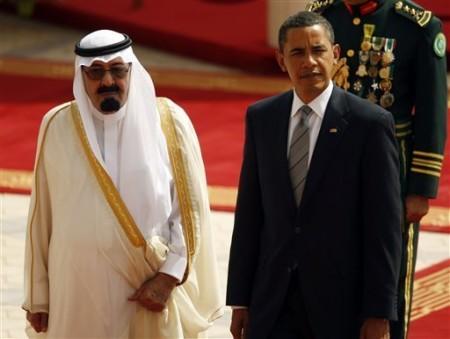 U.S. President Barack Obama, with King Abdullah of Saudi Arabia, at King Khalid International Airport June 3 2009 Riyadh, Saudi Arabia (AP Photo/Pablo Martinez Monsivais)