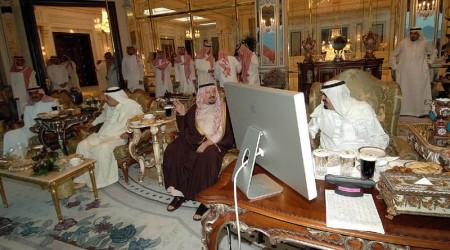 Saudi Arabia King Abdullah bin Abdul Aziz Al Saud is Mac user, with Apple Cinema Display at royal palace