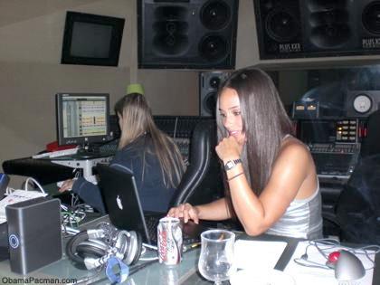 Alicia Keys using her Apple MacBook laptop in recording studio