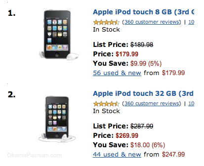 Amazon, Most Gifted in Portable Audio Video MP3 players are Apple iPod