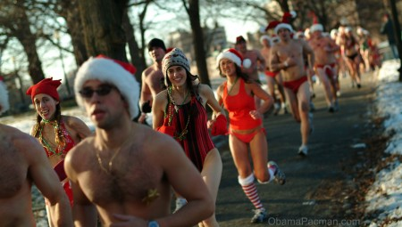 Christmas, joggers wearing santa hats, bikinis, and swimsuits running in wintry Boston Common park, 4147