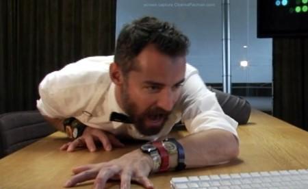 Lady Gaga Poker Face, Neutra Face Typeface Music Video Parody, bearded man on table