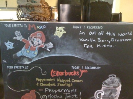 Mario geeky coffee shop art