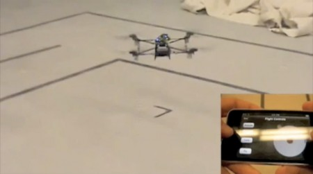 UAV controlled by experimental iPhone App from MIT Humans and Automation Lab (HAL)