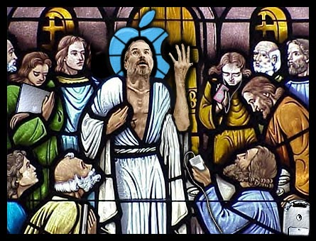 1. Kirchenfenster stain glass, Top 5 holy godly Apple CEO Steve Jobs illustrations, photoshopped
