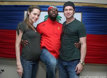 Angelina Jolie, Brad Pitt, Wyclef Jean, in Haiti Capital Port-au-Prince