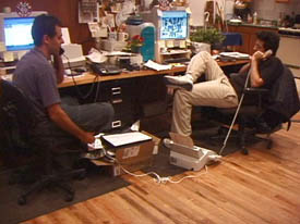 JibJab founders Gregg and Evan in Brooklyn New York Office with Apple PowerMac G3