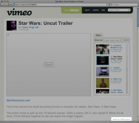 "Vimeo html5 video Flash alternative. HOW-TO: ""Switch to HTML5 player"" on lower right"