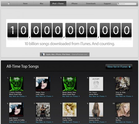 apple iTunes music store 10 Billion Songs downloaded and counting