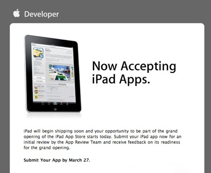 Apple Now Taking iPad Tablet App Submissions