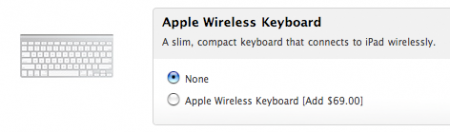 Apple wireless bluetooth keyboard works as iPad accessory
