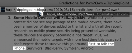 Blog of TippingPoint, sponsor of Pwn2Own claims Apple iPhone will be first to fail despite scheduled random drawing