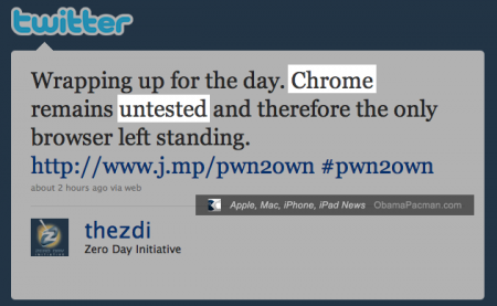 Google Chrome Left Standing, Pwn2Own 2010, CanSecWest