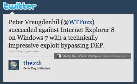 Microsoft Windows 7 Internet Explorer 8 hacked, Pwn2Own 2010, CanSecWest
