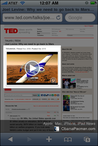 TED no flash Apple iPhone iPad friendly website launched