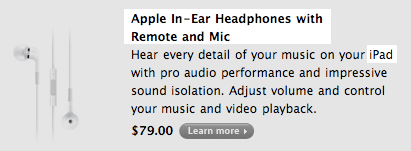 iPad tablet optional accessories include Apple headphones with remote and microphone