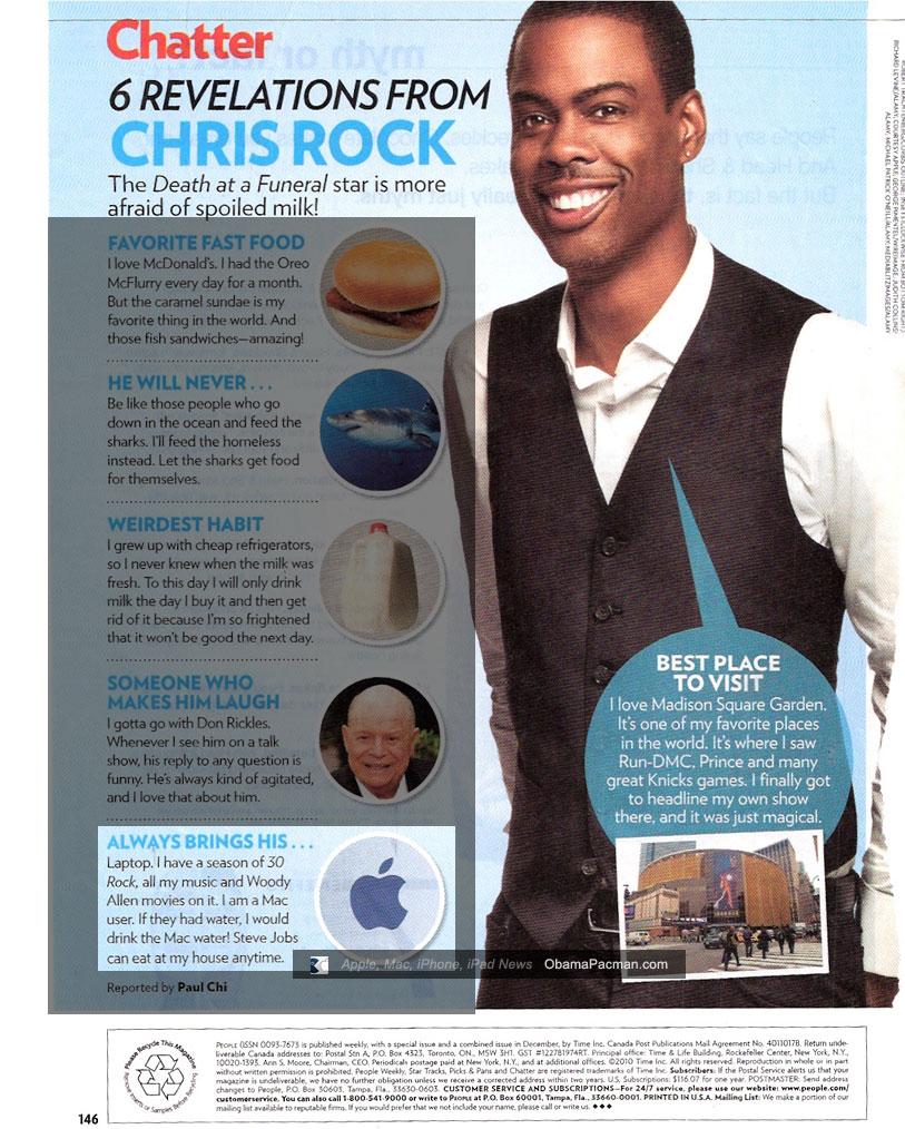 Chris Rock Apple fan, would drink Mac Water, People Magazine