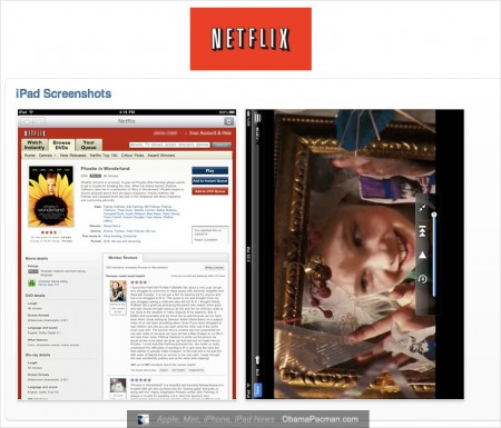 Netflix iPad screenshots, video rental