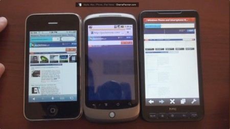 Browser Speed Test, Google Android 2.2 Froyo with Flash vs Apple iPhone vs HD2