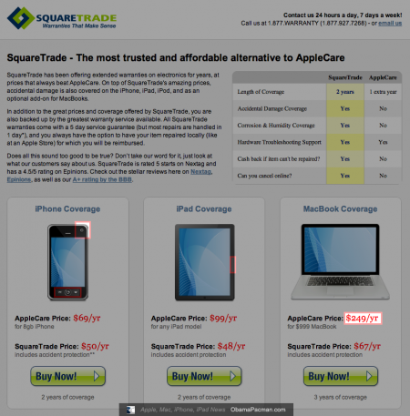 Square Trade Apple iPhone, iPad, MacBook coverage, fail