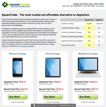 Square Trade Apple iPhone, iPad, MacBook coverage vs. Applecare