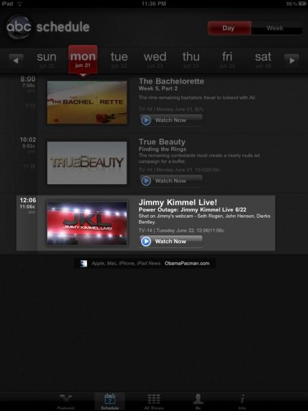 Watch Jimmy Kimmel Mac isight webcam recored show on iPad ABC App