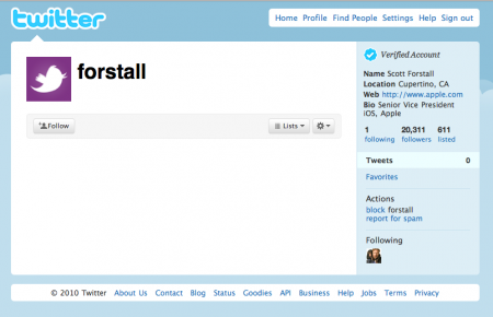 Apple iOS VP Scott Forstall Twitter account