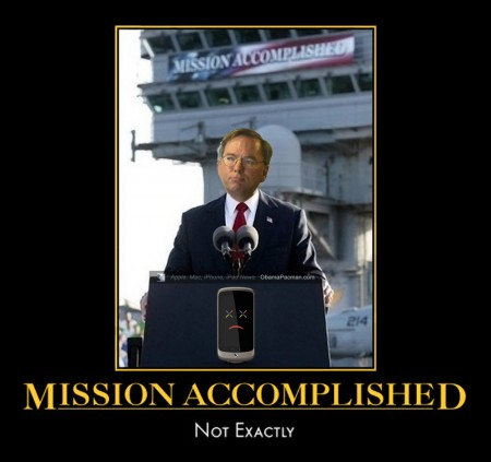Google CEO Eric Schmidt as G.W. Bush, Nexus One Android Phone, Mission Accomplished FAIL