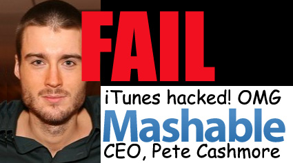 Mashable CEO Pete Cashmore, misleading fear mongering yellow journalism fail