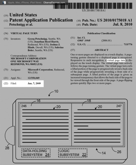 Microsoft USPTO virtual page turn iBooks killer patent 20100175018, filed January 7, 2009