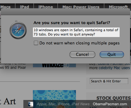 73 tabs open Apple Safari MacBook Pro