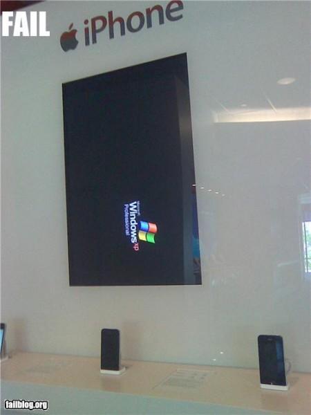 ATT Apple iPhone display fail, powered by Microsoft Windows