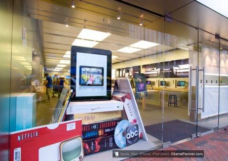 Apple Store Giant Godzilla iPad vs. regular sized iPhone 4