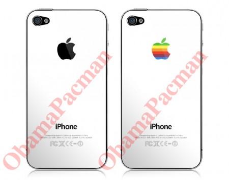 Apple White iPhone 4 Skins, DIY Removable Kit, black rainbow logo options