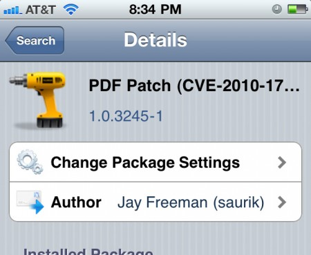 Apple iOS, iPhone iPod touch iPad, PDF security patch fix Cydia