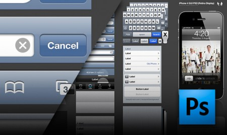 Apple iPhone 4 high resolution interface download, GUI PSD Retina Display